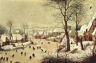 <i>Winter Landscape with Ice skaters and Bird trap</i> painting by Pieter Brueghel the Elder