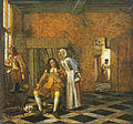 Pieter de Hooch - Two men and a young woman in a distinguished interior.jpg