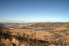 View (facing east-south-east) from Lenong lookout point over the Makorwane (foreground) and Mankwe (background) dams.