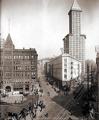 Seattle - Pioneer Square in 1917 featuring the Smith Tower, the Seattle Hotel and to the left the Pioneer Building