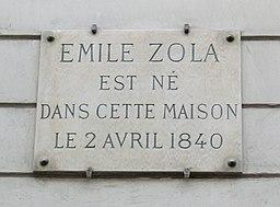 Plaque Émile Zola, 10 rue Saint-Joseph, Paris 2