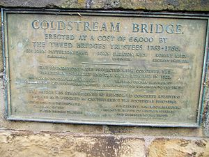 Coldstream Bridge - Image: Plaque on Coldstream Bridge listing builders engineers
