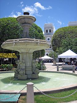 Central plaza in Guayama Pueblo