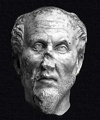 Stone bust of Plotinus.