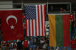 2010 FIBA World Championship - Flag of the top three teams at the medal ceremony
