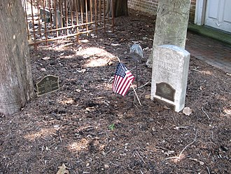 John Augustine Washington - Marker to John Washington's memory, on the left, in the cemetery at Pohick Church