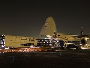 Polet Airlines - Part of an Emirates Airbus A380 mock-up being loaded on an Antonov An-124.