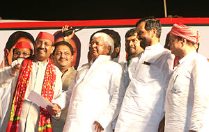 Lalu Prasad Yadav - Yadav together with Ram Vilas Paswan and Amar Singh at a party rally in Mumbai during the 2009 general elections.
