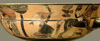 Troilus - Troilus and Polyxena fleeing. Kylix, by C-painter, c. 570–565 BC, Louvre (CA 6113), black-figure Attic. That there are two horses shown side by side can most clearly be seen by looking at their legs and tails.