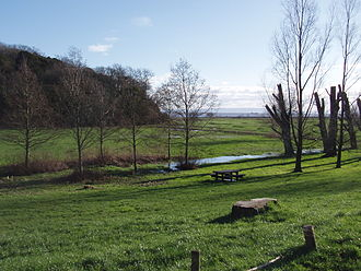 Porthkerry Park - View across the park's main field, towards the pebble beach and the Bristol Channel