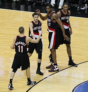 Channing Frye - Frye (far right) with the Portland Trail Blazers in December 2008