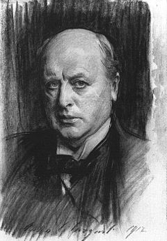 """Portrait of Henry James,"" charcoal sketch by John Singer Sargent (1911)"
