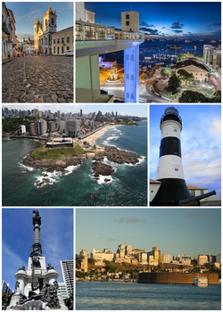 From the top, clockwise: Pelourinho with the Church of the Third Order of Our Lady of the Rosary of the Black People; view of the Lacerda Elevator from the Comércio neighborhood; Barra Lighthouse; the Historic Center seen from the Bay of All Saints; monument to the heroes of the battles of Independence of Bahia and panorama of Ponta de Santo Antônio and the district of Barra.