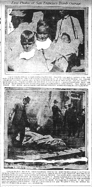 Preparedness Day Bombing - Newspaper photos of the victims (top) and the dead (bottom).