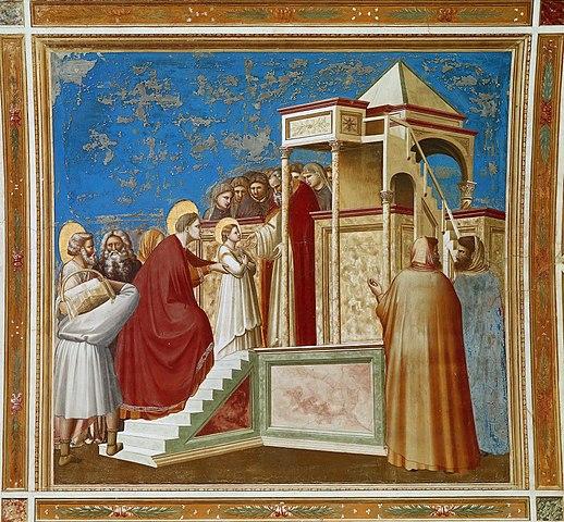 «Введение во храм», фреска Джотто, капелла Скровеньи. Анна поддерживает свою малютку-дочь