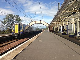 Prestwick Town Railway Station, with ScotRail 380108 to North Berwick sitting at Platform 1.jpg