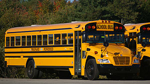 A Blue Bird Vision school bus with a propane-f...