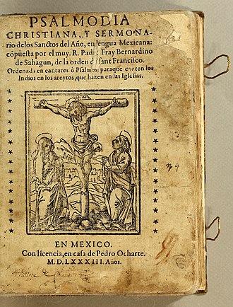 Bernardino de Sahagún - Title page, Psalmodia Christiana, 1583