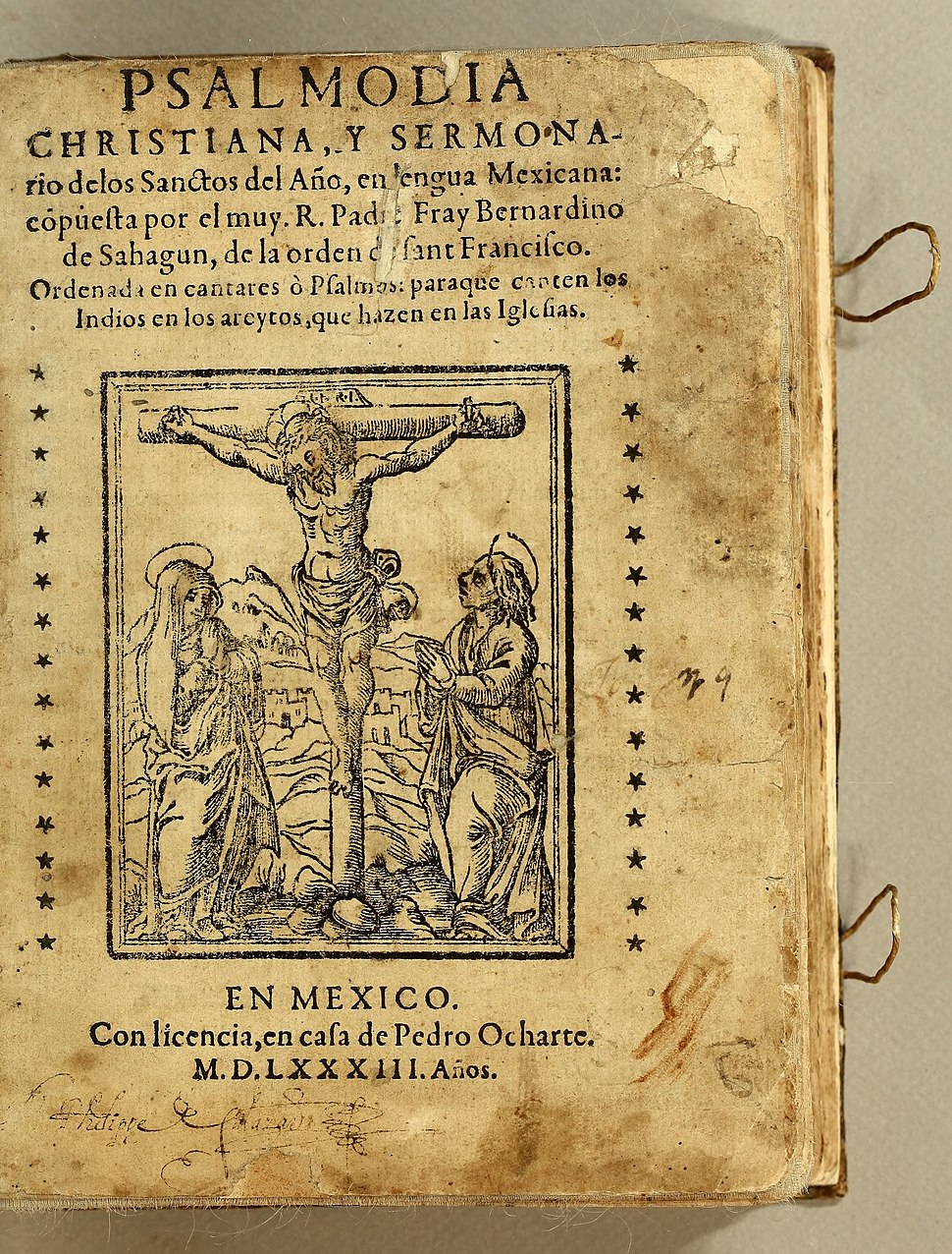 Psalmodia Christiana Bernardino de Sahagún 1583 title page