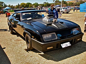 Mad Max - Replica Mad Max Pursuit Special vehicle outside the ''Silverton Hotel''