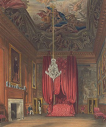 Queen Mary II's Bedchamber, also known as Queen Caroline's State Bedchamber. Pynequeenmarysstatebedchamberhamptoncourt edited.jpg