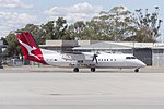 """QantasLink (VH-SBV) Bombardier DHC-8-315Q Dash 8, in new QantasLink """"new roo"""" livery, taxiing at Wagga Wagga Airport (1).jpg"""