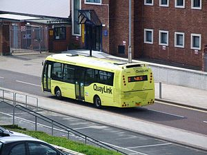 Hybrid electric bus - A Designline-built gas turbine-electric bus on the QuayLink service in Tyne and Wear, England