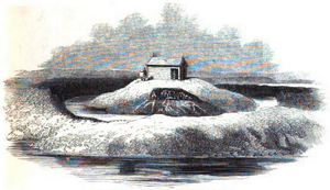 Queenborough Castle - The site of Queenborough Castle in the early 19th century prior to the construction of the railway pump house and later landscaping (an engraving published in London in 1845).