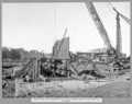 Queensland State Archives 3500 South main pier construction of steel piling coffer dam for tie beam Brisbane 2 August 1937.png