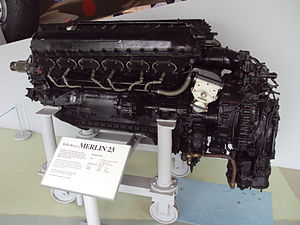 Rolls-Royce Merlin engine at the RAF Museum, C...