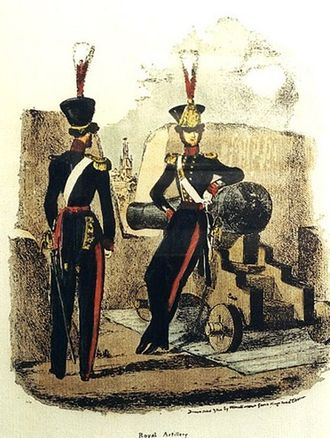 Royal Artillery - Royal Artillery Officers uniform, 1825