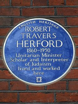 Robert travers herford 1860 1950 unitarian minister scholar and interpreter of judaism lived and worked here