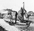 Raddampfer OLDENBURG um 1848 auf der Hunte am Stau, Stadt Oldenburg. Im Hintergrund offenbar die Anlegestelle.jpg