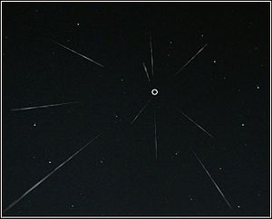 Radiant (meteor shower) - Diagram of meteor showers and their radiant, marked by o.