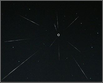 Radiant (meteor shower) - Image of a meteor shower, with the radiant marked by o