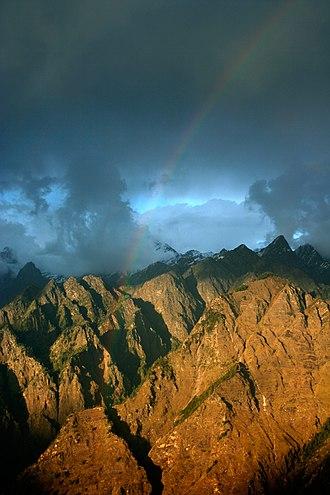 Auli, India - Image: Rainbow across Himalayas, Auli