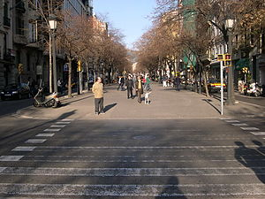Rambla de Catalunya - View of the central lane