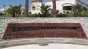 The sign of the city of Rancho Cucamonga, San ...