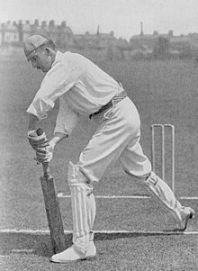 A black and white picture of Lionel Palairet demonstrating a batting stroke.