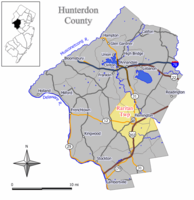 Map of Raritan Township in Hunterdon County. Inset: Location of Hunterdon County highlighted in the State of New Jersey.