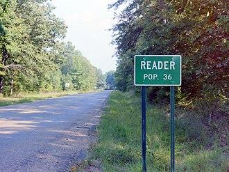 Reader, Arkansas - Street sign in Reader