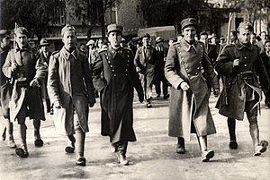 1935 Greek coup d'état attempt - Rebel Greek officers under guard following the suppression of the coup