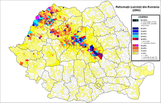 Reformed Church in Romania - Distribution of Reformed adherents in Romania (2002 census)