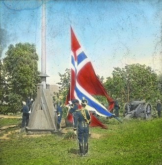Dissolution of the union between Norway and Sweden - The Norwegian flag, without the union mark, is raised at Akershus Fortress following the dissolution resolution