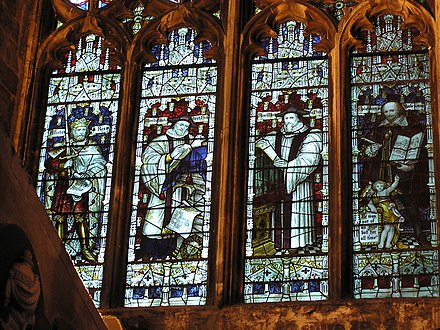 Stained glass window by Charles Eamer Kempe RichardHakluyt-BristolCathedral-stainedglasswindow-whole.jpg