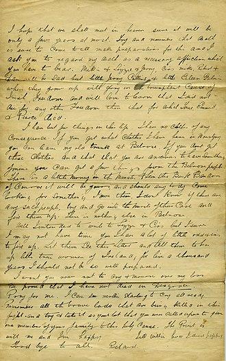Richard Barrett (Irish republican) - Image: Richard Barrett, IRA, page 2 of letter written prior to execution, 1922