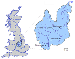 The drainage basin of the River Trent -->