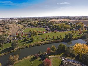 Hermiston, Oregon - Riverfront Park features open grassy space, and access to more than 2 miles of paved walking trails.