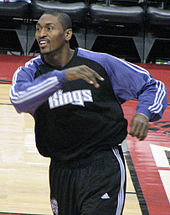 Ron Artest during in-game warm up