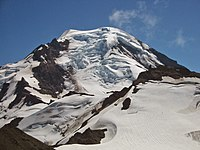 Roosevelt Glacier descends from the summit ice cap in a spectacular icefall on the north side of Mount Baker